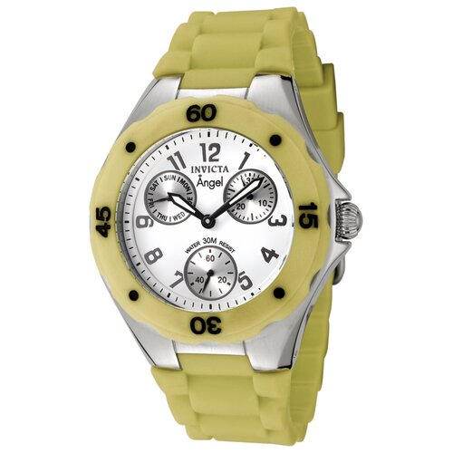 Women's Angel Watch in White Dial Yellow Green Silicon