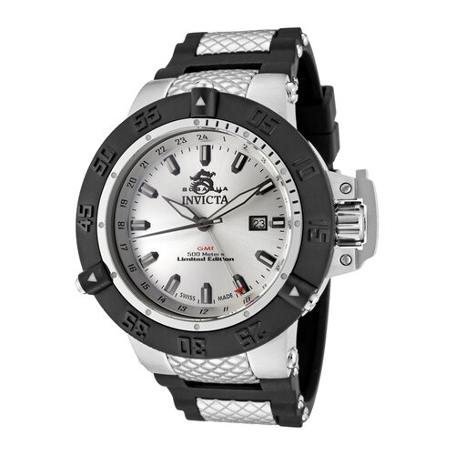 Men's Subaqua GMT Silver Dial Black Polyurethane and Stainless Steel Watch