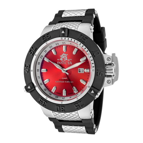 Men's Subaqua GMT Red Dial Black Polyurethane and Stainless Steel Watch