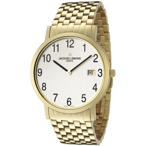 Men's Genève / Baca Stainless Steel White Dial Gold Ion Plated Watch