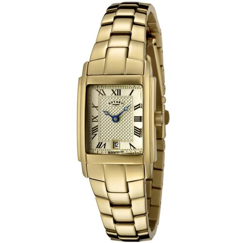 Women's Two Tone Gold Ion Plated Stainless Steel Watch with Champagne Textured Dial