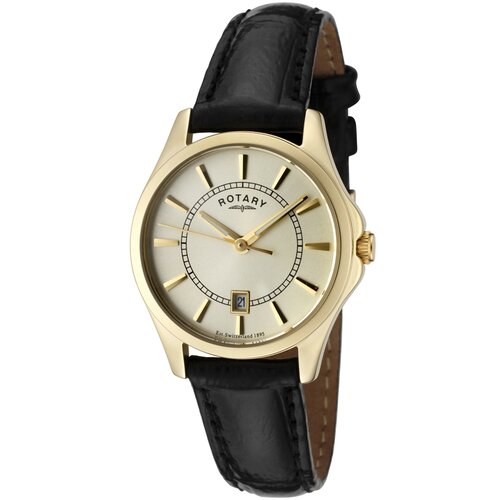 Women's Beaumont Champagne Dial Black Leather Watch