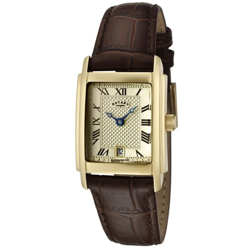 Women's Champagne Textured Dial Brown Leather Watch