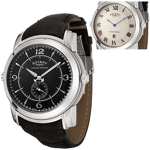 Rotary Watches Men's Revelation Reversible Face Black Leather Watch with White Guilloche Dial