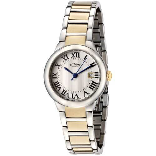 Women's Silver Textured Dial Two Tone Watch
