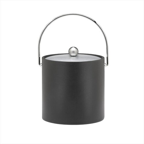 Kraftware Soho 3 Qt Leatherette Ice Bucket with Bale Handle in Black