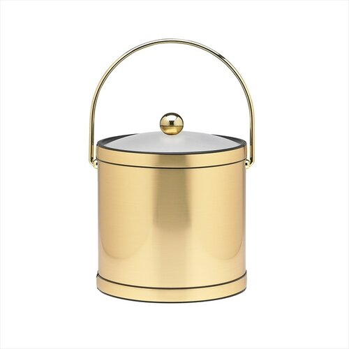 Kraftware Mylar 3 Qt Ice Bucket with Lucite Cover in Brushed Brass