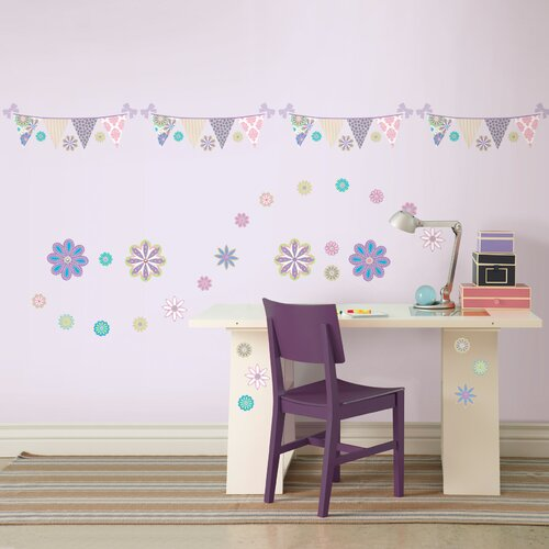 Kids Patchwork Daisy Blox and Stripe Wall Decal