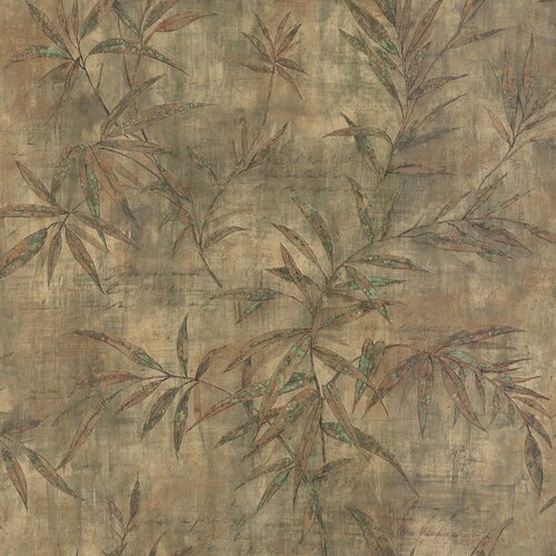 Brewster Home Fashions Destinations by the Shore Bamboo Leaf Letter Wallpaper