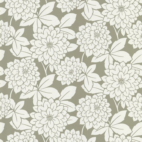 Brewster Home Fashions Ink Zinnia Flower Wallpaper