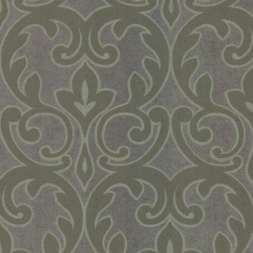 Brewster Home Fashions Salon Outline Damask Foiled Wallpaper