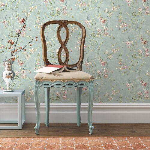 Brewster Home Fashions Willow Cottage Lily Trail Wallpaper