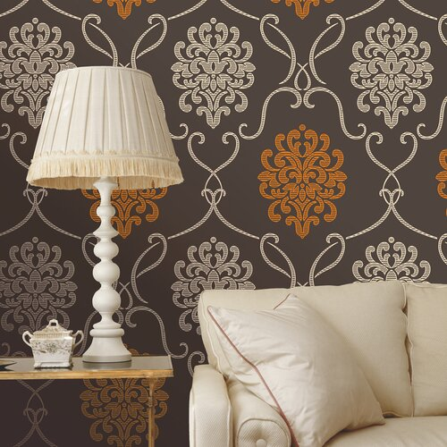 Brewster Home Fashions Accents Suzette Modern Damask Wallpaper