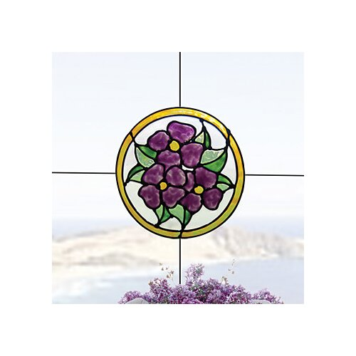 Pansy Medallion Stained Glass Appliqué Window Sticker