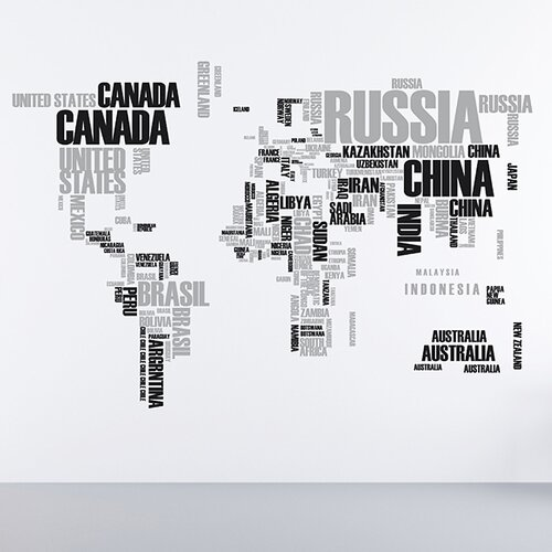 Brewster Home Fashions Euro World Map Wall Decal