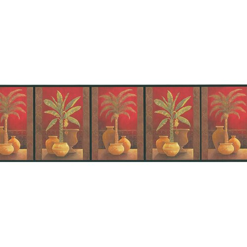 Brewster Home Fashions Destinations by the Shore Potted Palm Border Wallpaper