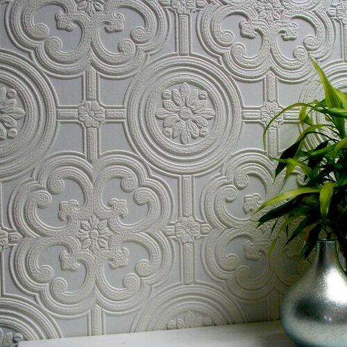 Brewster Home Fashions Anaglypta Paintable Egon Floral Embossed Wallpaper