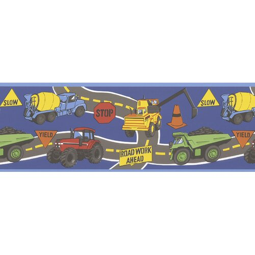Brewster Home Fashions Kids World The Big Dig Dark Construction Trucks Wallpaper Border