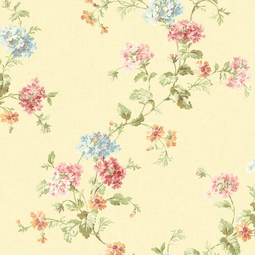 Brewster Home Fashions Springtime Cottage Geranium Trail Floral Wallpaper