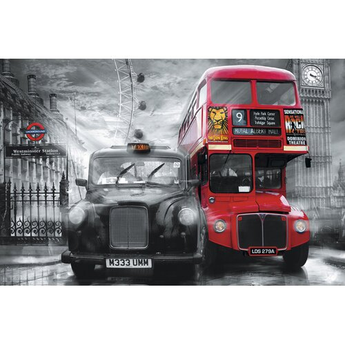 Brewster Home Fashions Ideal Decor Taxi & Bus Wall Mural