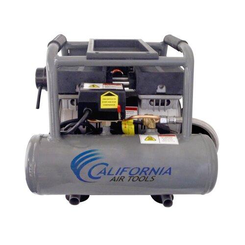 California Air Tools 2 Gallon Ultra Quiet and Oil-Free 1.0 Hp Steel Twin Tank Air Compressor