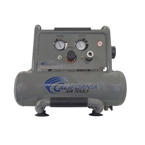 2 Gallon Ultra Quiet and Oil-Free 1.0 Hp Steel Twin Tank Air Compressor