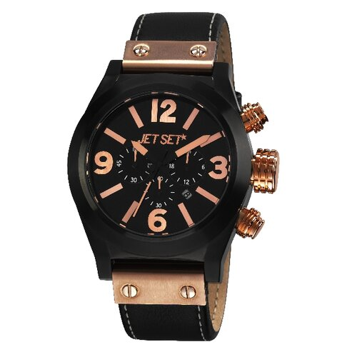 San Remo Men's Watch with Black Case and Rose Gold Crown