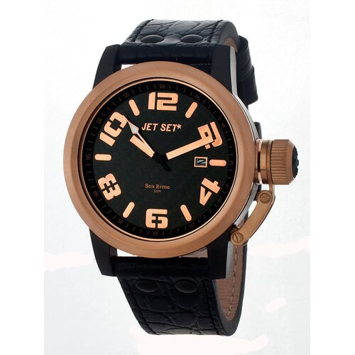 San Remo Men's Watch with Black Band and Rose Gold Case