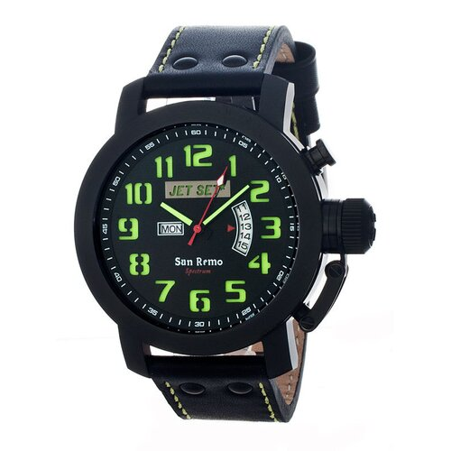 Jet Set San Remo Men's Watch with Black Case and Black / Green Dial