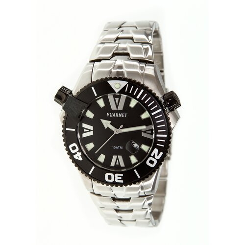 H2O Gent Men's Watch with Silver Band and Black Dial