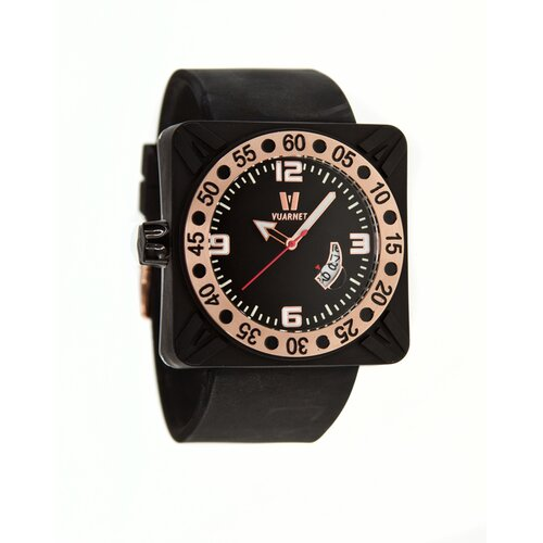 Deepest Gent Men's Watch in Black with Rose Gold Bezel