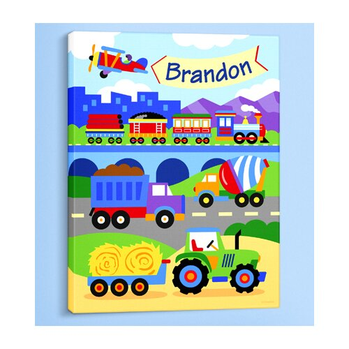 Olive Kids Trains, Planes and Trucks Personalized Canvas Art