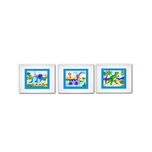 Olive Kids 3 Piece Dinosaur Land Framed Art Set