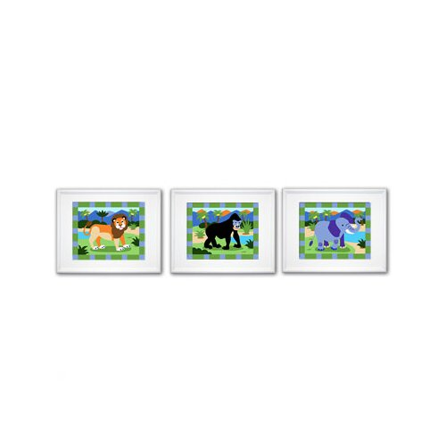 Olive Kids 3 Piece Wild Animals Framed Art Set
