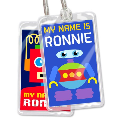 Olive Kids Robots Personalized Name Tag