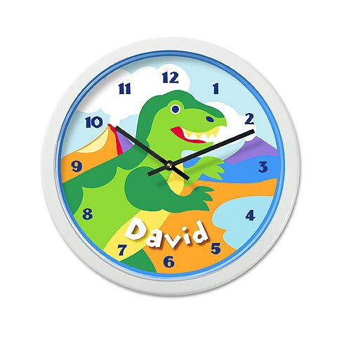 "Olive Kids Dinosaur Land 12"" Personalized Wall Clock"