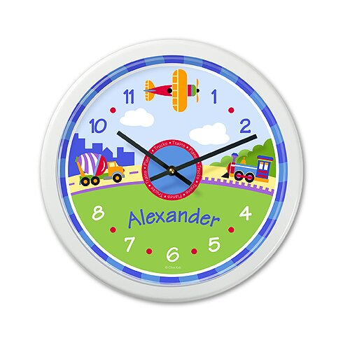 "Olive Kids Trains, Planes and Trucks 12"" Personalized Wall Clock"