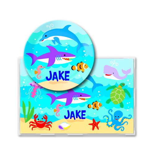 Olive Kids Ocean Personalized Meal Time Plate Set