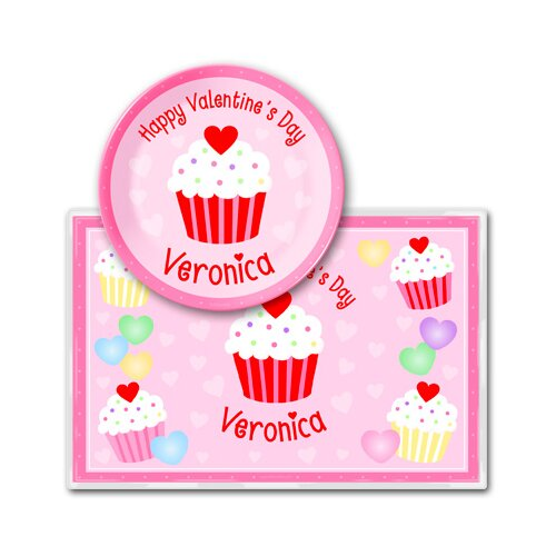 Valentine's Day Cupcake Personalized Meal Time Plate Set
