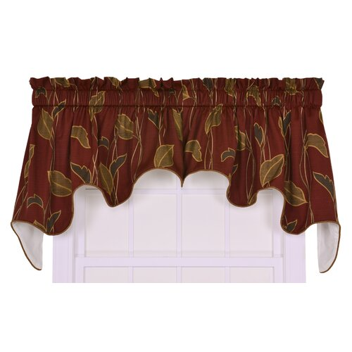 "Ellis Curtain Riviera Large Scale Leaf and Vine Lined Duchess 100"" Curtain Valance"