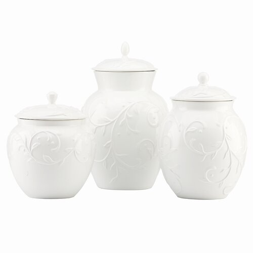 Lenox Opal Innocence Carved 3 Piece Canister Set