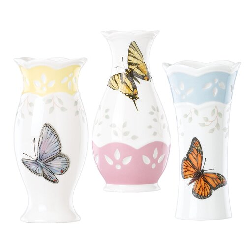 Butterfly Meadow 3 Piece Small Vase Set