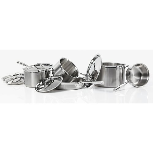 Tri-Ply 12- Piece Stainless Steel Cookware Set (Set of 10)