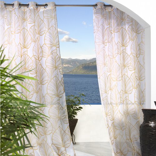 Commonwealth Home Fashions Outdoor Décor Biscayne Banana Leaf Grommet Curtain Single Panel