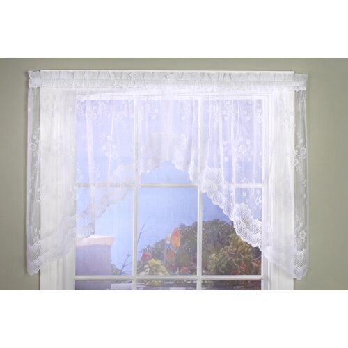 "Commonwealth Home Fashions Bridal Lace Hem Rod Pocket Swag 72"" Curtain Valance"
