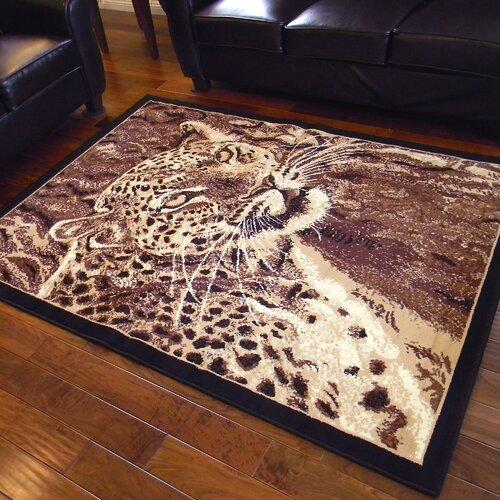 African Adventure Brown Leopard Head Rug