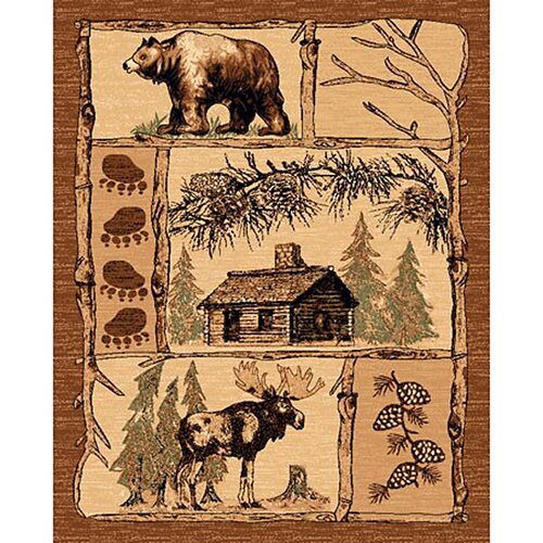 DonnieAnn Company Lodge Design Bear/Deer Novelty Rug