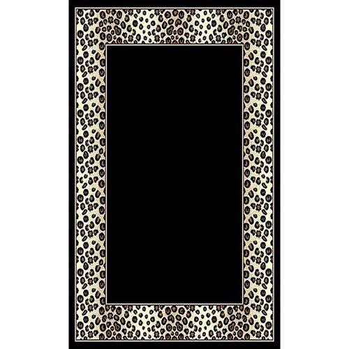 African Adventure Black Leopard Border Rug