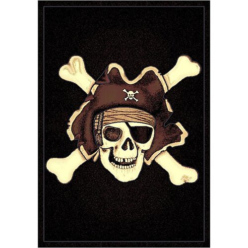 Skinz 77 Mixed Black Skull Pirate Design Rug