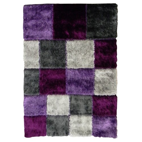 Flash Shaggy Lilac Geometric Square Rug